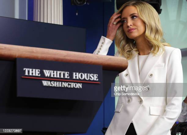 White House Press Secretary Kayleigh McEnany participates in a news conference in the Brady Press Briefing Room at the White House May 06, 2020 in...