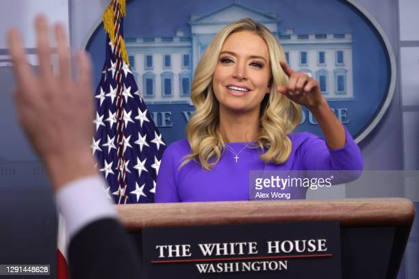 White House Press Secretary Kayleigh McEnany participates in a White House briefing at the James Brady Press Briefing Room December 15, 2020 in...
