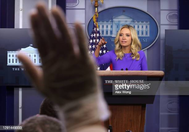 White House Press Secretary Kayleigh McEnany participates in a White House briefing at the James Brady Press Briefing Room of the White House...
