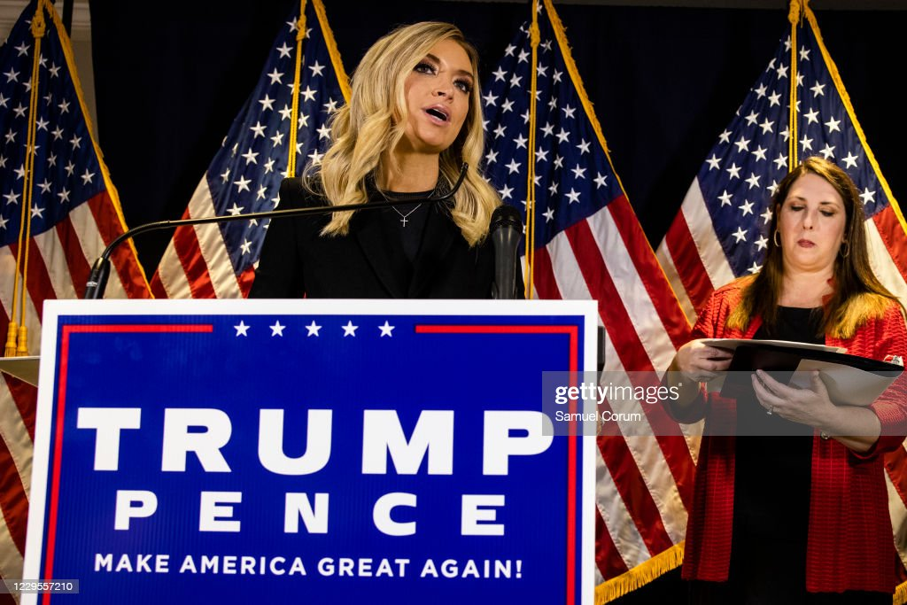 White House Press Secretary Kayleigh McEnany And RNC Chairwoman Ronna McDaniel Hold News Conference At RNC HQ : News Photo