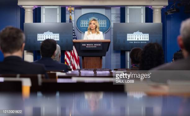 White House Press Secretary Kayleigh McEnany speaks during a briefing in the Brady Press Briefing Room of the White House in Washington, DC, May 6,...