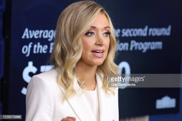 White House Press Secretary Kayleigh McEnany speaks during a news conference in the Brady Press Briefing Room at the White House May 06, 2020 in...