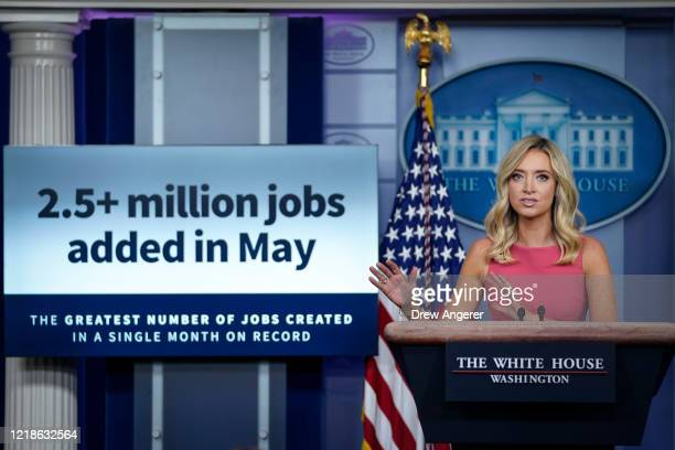 White House Press Secretary Kayleigh McEnany speaks during a press briefing at the White House on June 8, 2020 in Washington, DC. President Trump...