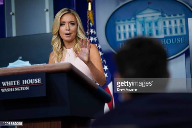 White House Press Secretary Kayleigh McEnany speaks during a press briefing at the White House on July 13, 2020 in Washington, DC. On Monday...