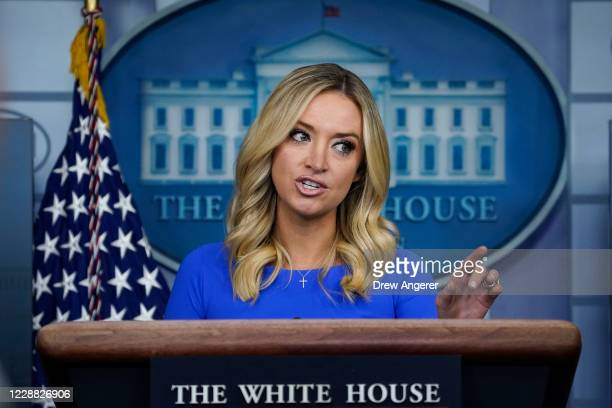 White House Press Secretary Kayleigh McEnany speaks during a press briefing at the White House on October 1, 2020 in Washington, DC. President Donald...