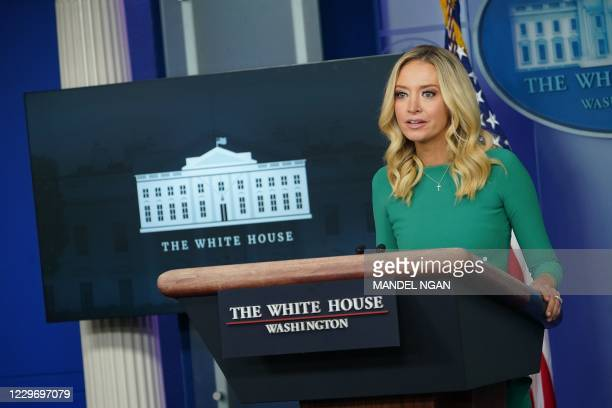 White House Press Secretary Kayleigh McEnany speaks during a press briefing on November 20 in the Brady Briefing Room of the White House in...