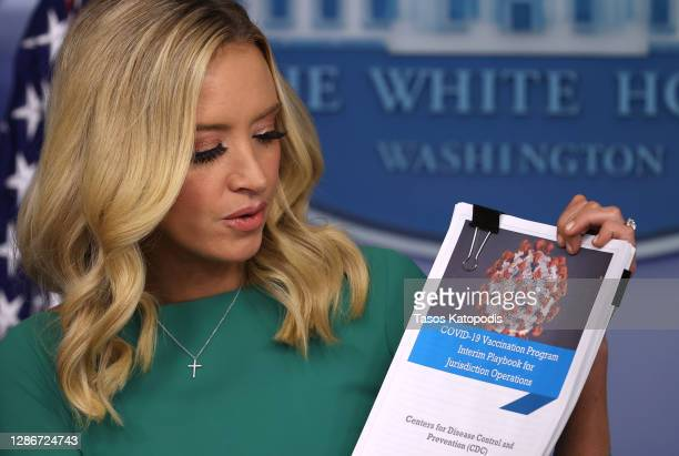 White House Press Secretary Kayleigh McEnany speaks during a White House press briefing in the James Brady Press Briefing Room at the White House on...