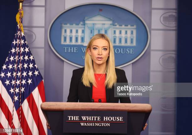 White House Press Secretary Kayleigh McEnany speaks in the James Brady Press Briefing Room on January 07, 2021 in Washington, DC. McEnany delivered...