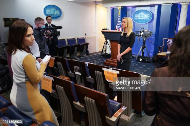White House Press Secretary Kayleigh McEnany speaks to reporters in the Brady Briefing Room of the White House in Washington DC on April 29 2020