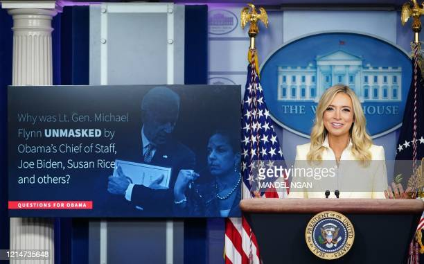 White House Press Secretary Kayleigh McEnany speaks to the press on May 22 in the Brady Briefing Room of the White House in Washington DC