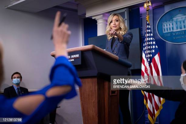White House Press Secretary Kayleigh McEnany take questions during a briefing at the White House on May 12 in Washington, DC.