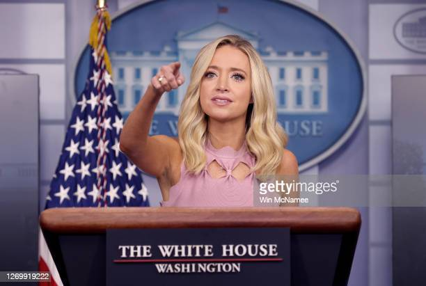 White House press secretary Kayleigh McEnany takes questions during a press briefing at the White House on August 31, 2020 in Washington, DC. McEnany...