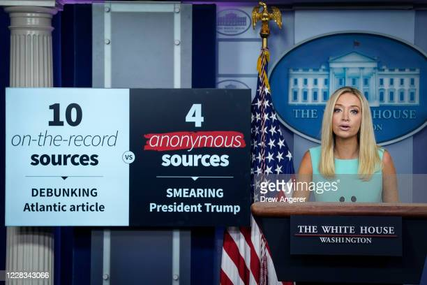 White House Press Secretary Kayleigh McEnany talks about the recent Atlantic Magazine article about President Trump and the military during a press...