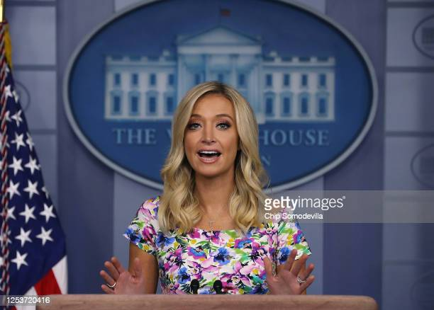 White House Press Secretary Kayleigh McEnany talks to reporters during a news conference in the Brady Press Briefing Room at the White House July 01,...
