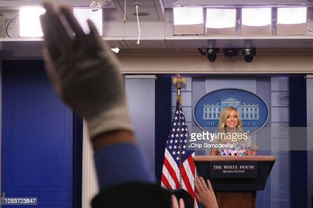 White House Press Secretary Kayleigh McEnany talks to reporters during a news conference in the Brady Press Briefing Room at the White House July 01...