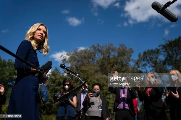 White House Press Secretary Kayleigh McEnany talks to reporters outside the West Wing of the White House on October 2, 2020 in Washington, DC....
