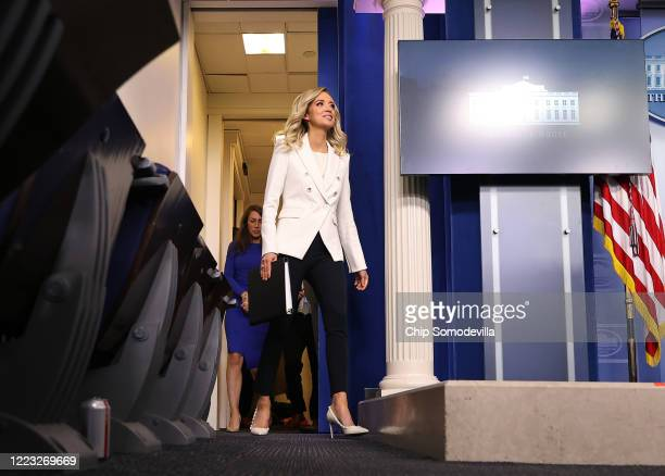 White House Press Secretary Kayleigh McEnany walks into a news conference in the Brady Press Briefing Room at the White House May 06, 2020 in...