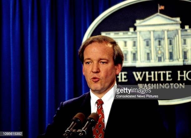 White House Press Secretary Mike McCurry delivers a daily briefing in the White House's Press Room, Washington DC, November 13, 1995.