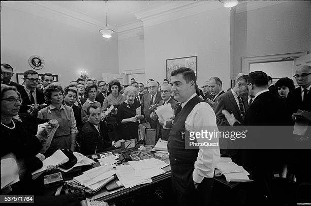 White House Press Secretary Pierre Salinger conducts a press conference on the Cuban Missile Crisis Washington DC October 25 1962