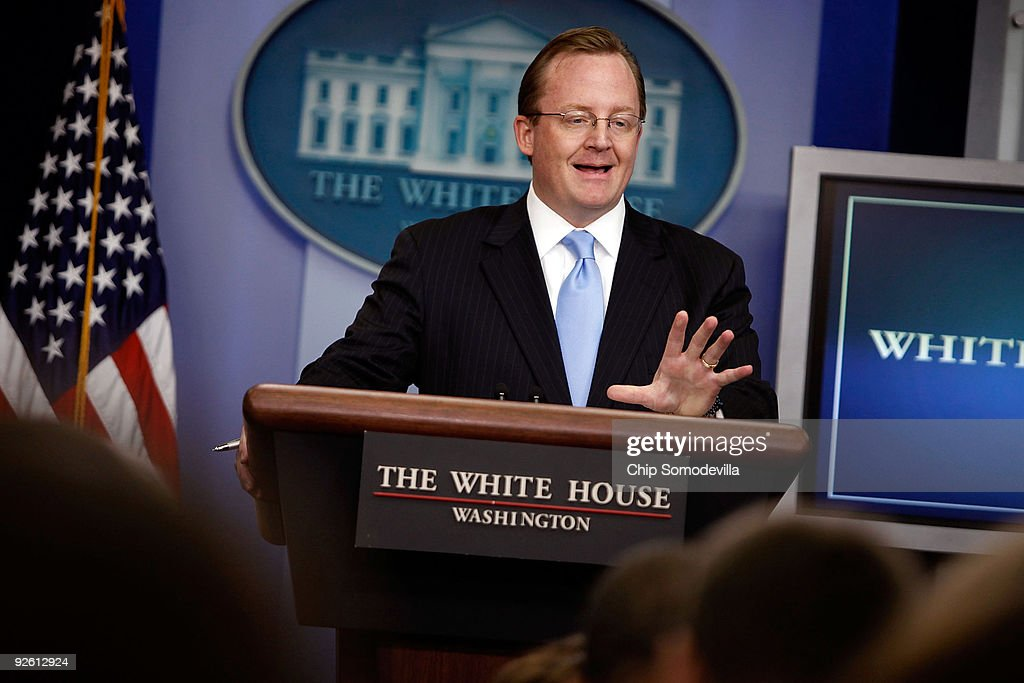 White House Press Secretary Robert Gibbs holds the daily press briefing at the White House November 2, 2009 in Washington, DC. Gibbs was peppered with questions about Abdullah Abdullah's decision to pull out of the Afghan presidential runoff and what effect that decision has on the United States' relationship with current President Hamid Karzai.
