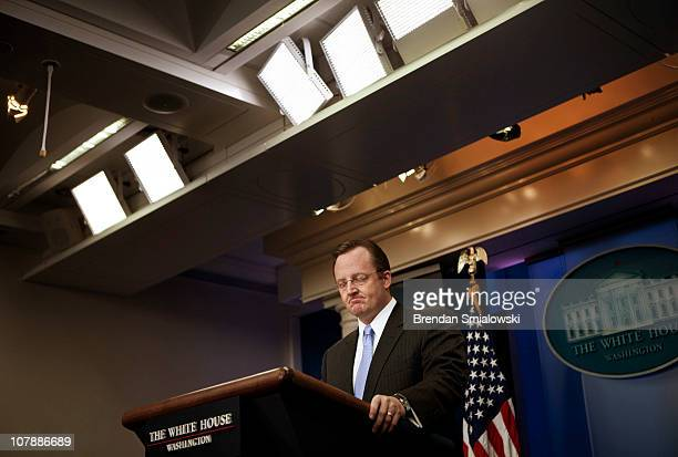White House press secretary Robert Gibbs listens during a daily press briefing at the White House January 5, 2011 in Washington, DC. White House...