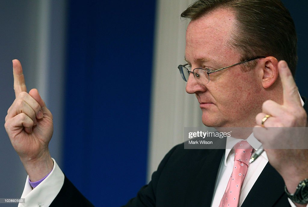 White House Press Secretary Robert Gibbs speaks during his daily press briefing at the White House on July 14, 2010 in Washington, DC. Mr. Gibbs spoke about BPs efforts to cap the oil spill in the Gulf of Mexico.