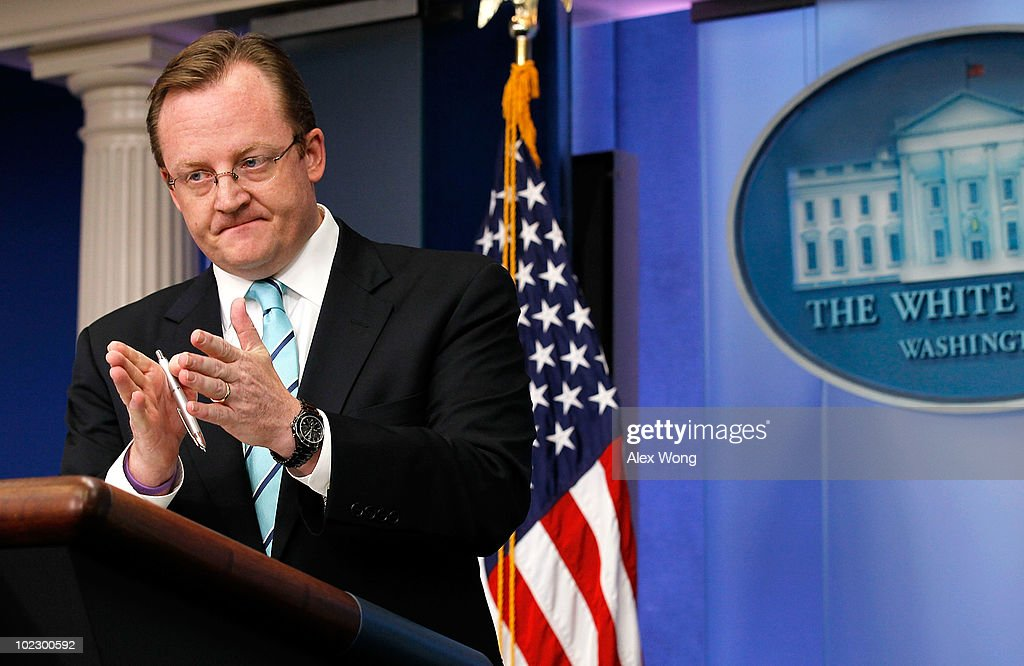 White House Press Secretary Robert Gibbs speaks during the daily news briefing June 22, 2010 at the White House in Washington, DC. Gibbs refused to say whether Gen. Stanley McChrystal, the top commander of the U.S. Force in Afghanistan, will keep his job after his negative criticism on the Obama Administration were published in an article of the latest issue of the Rolling Stone Magazine.