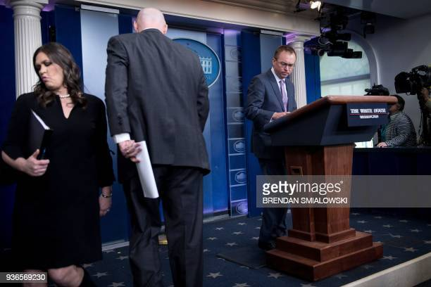 White House Press Secretary Sarah H Sanders leaves as Director of Legislative Affairs Marc Short and Office of Management and Budget Director Mick...