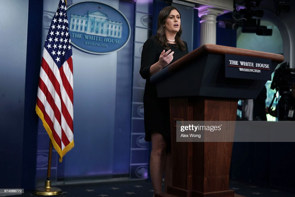 White House Press Secretary Sarah Huckabee Sanders addresses reporters during a White House daily news briefing at the James Brady Press Briefing Room of the White House June 14, 2018 in Washington, DC.