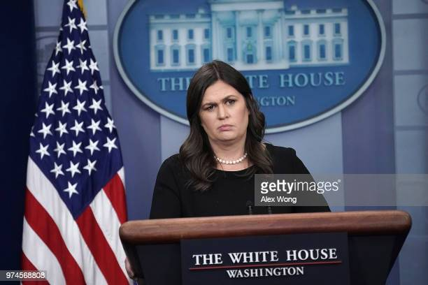 White House Press Secretary Sarah Huckabee Sanders addresses reporters during a White House daily news briefing at the James Brady Press Briefing...