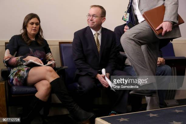 White House Press Secretary Sarah Huckabee Sanders and Office of Management and Budget Director Mick Mulvaney arrive for a news conference about the...