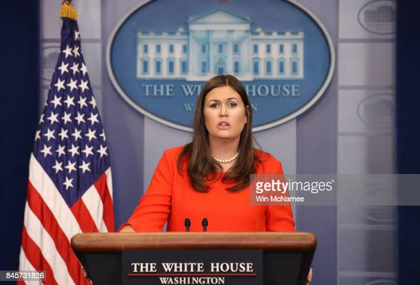 White House press secretary Sarah Huckabee Sanders answers questions at a White House briefing September 11 2017 in Washington DC Earlier White House...