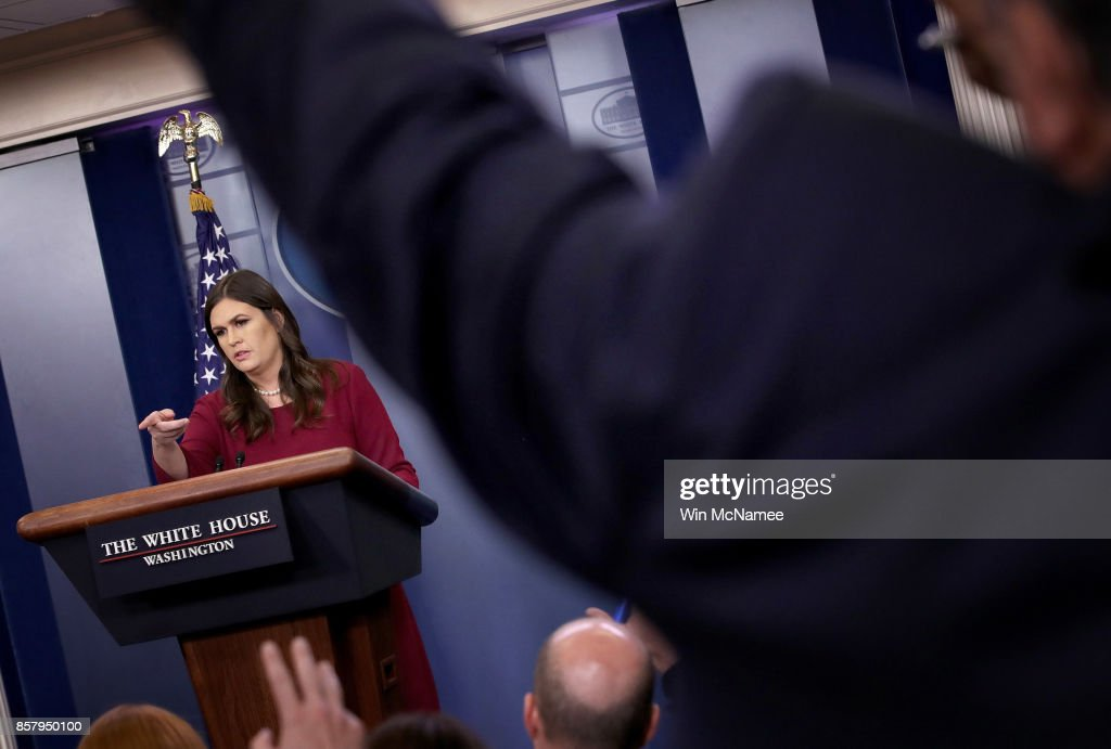 White House Press Secretary Sarah Huckabee Sanders answers questions during a briefing at the White House October 5, 2017 in Washington, DC. Sanders responded to a number of questions related to the recent shooting in Las Vegas, and U.S. Secretary of State Rex Tillerson.