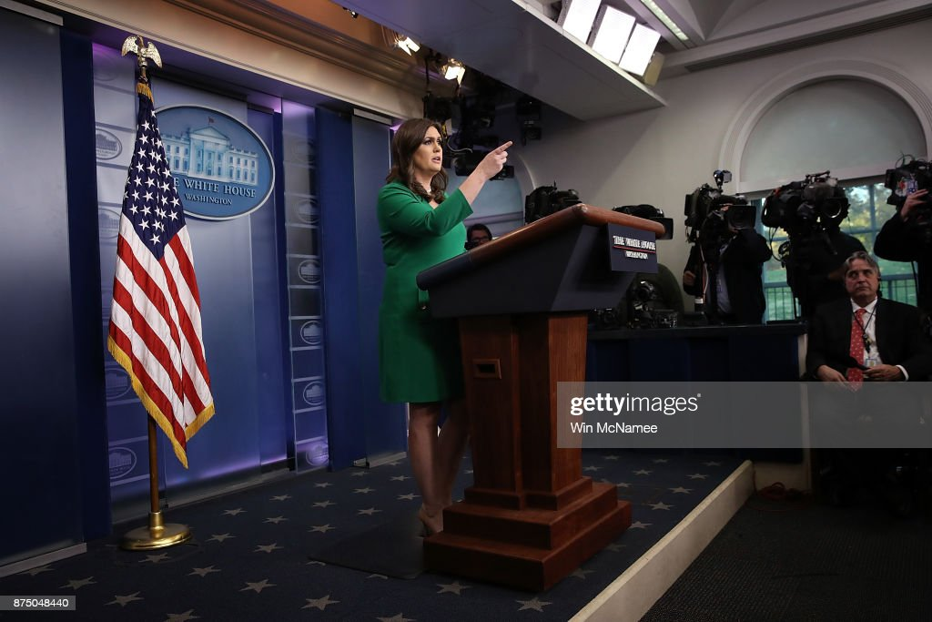 White House press secretary Sarah Huckabee Sanders answers questions during a briefing at the White House on November 16, 2017 in Washington, DC. Sanders answered a range of questions including the recent passage by the House of Representatives of a tax reform bill, and the Alabama race for the U.S. Senate.