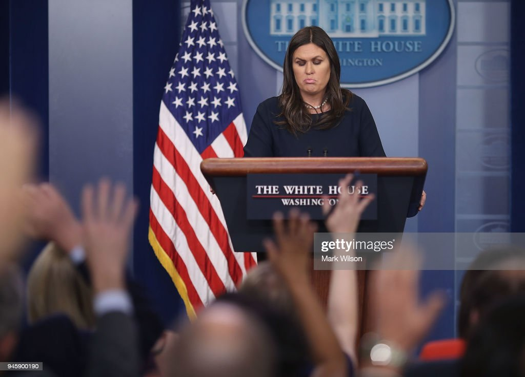 White House Press Secretary Sarah Sanders Holds Press Briefing At White House : News Photo