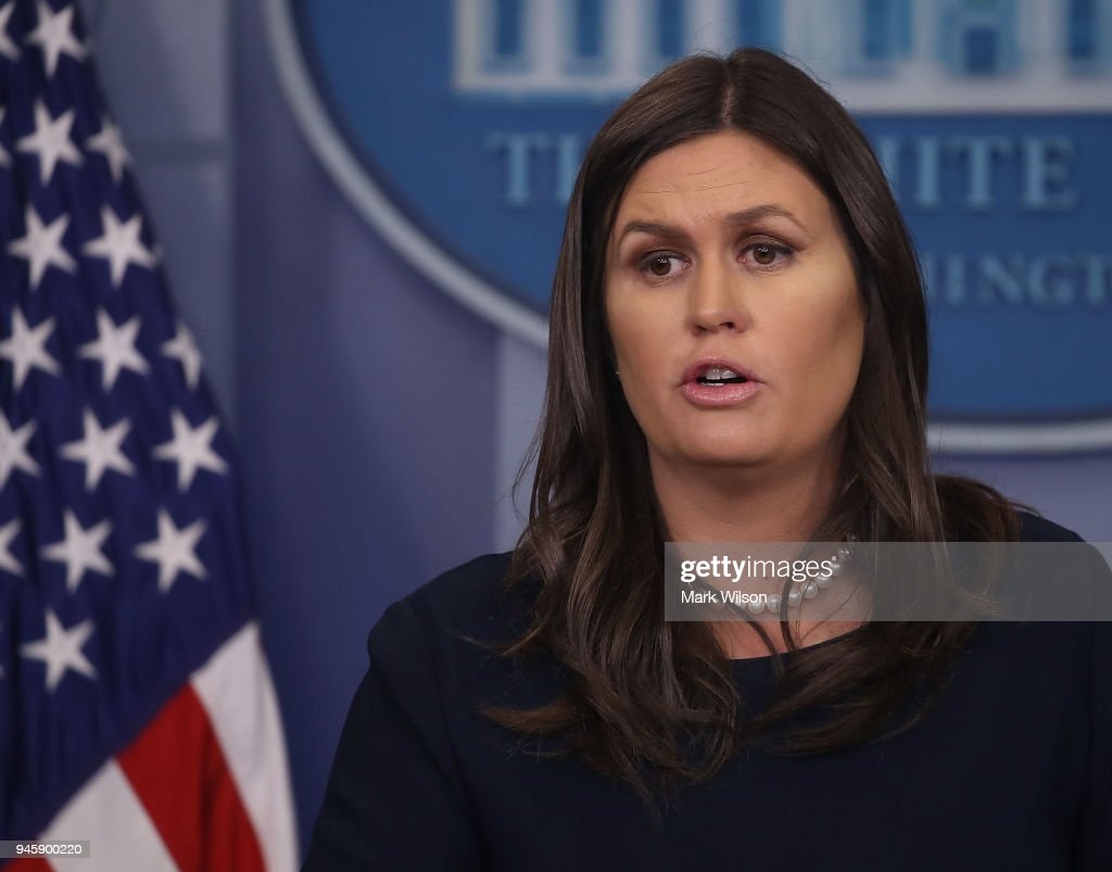 White House Press Secretary Sarah Huckabee Sanders briefs reporters in the White House Briefing Room, on April 13, 2018 in Washington, DC.