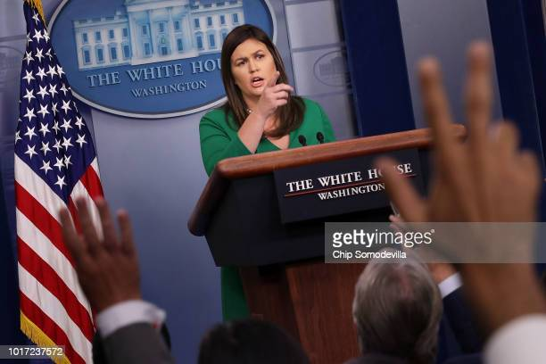 White House Press Secretary Sarah Huckabee Sanders called on reporters during a news conference in the Brady Press Briefing Room at the White House...