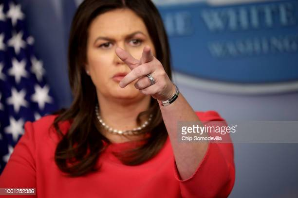 White House Press Secretary Sarah Huckabee Sanders holds a news conference in the Brady Press Briefing Room at the White House July 18 2018 in...