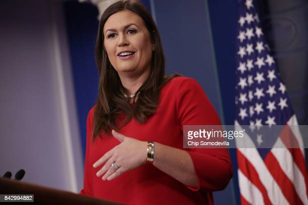 White House Press Secretary Sarah Huckabee Sanders calls on reporters during the daily news conference in the Brady Press Briefing Room at the White...