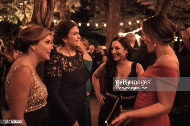 White House Press Secretary Sarah Huckabee Sanders chats with Mercedes Schlapp Jessica Ditto and Lindsey Walters at the 50th annual Meridian Ball at...