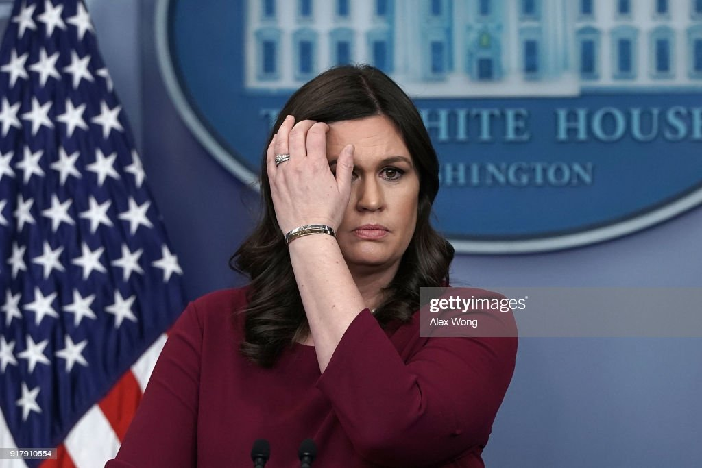 White House Press Secretary Sarah Huckabee Sanders conducts a daily news briefing at the James Brady Press Briefing Room of the White House February 13, 2018 in Washington, DC. Sanders held her daily briefing to fill questions from members of the White House Press Corps.