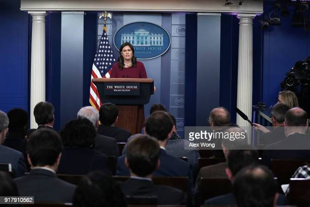 White House Press Secretary Sarah Huckabee Sanders conducts a daily news briefing at the James Brady Press Briefing Room of the White House February...
