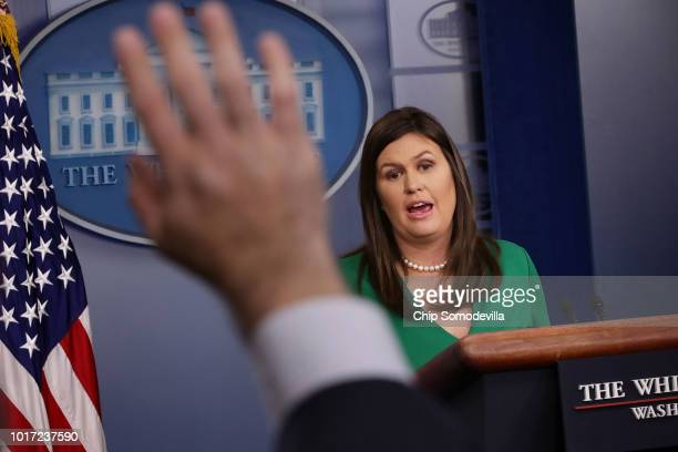 White House Press Secretary Sarah Huckabee Sanders conducts a news conference in the Brady Press Briefing Room at the White House August 15 2018 in...