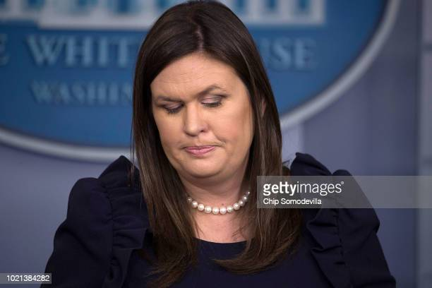 White House Press Secretary Sarah Huckabee Sanders conducts a news conference in the Brady Press Briefing Room at the White House August 22 2018 in...