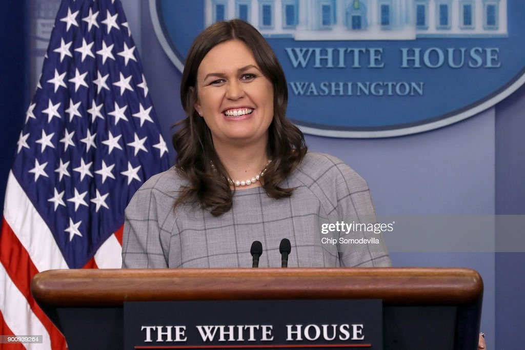 White House Press Secretary Sarah Huckabee Sanders conducts a news conference in the Brady Press Briefing Room at the White House January 3, 2018 in Washington, DC. Sanders took questions from many reporters about President Donald Trump's statement about former White House Senior Advisor Steve Bannon, in which he said 'When he was fired, he not only lost his job, he lost his mind.'