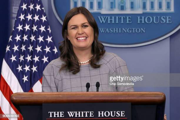 White House Press Secretary Sarah Huckabee Sanders conducts a news conference in the Brady Press Briefing Room at the White House January 3 2018 in...