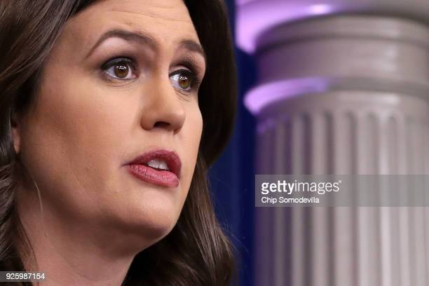 White House Press Secretary Sarah Huckabee Sanders conducts a news briefing at the White House March 1 2018 in Washington DC Sanders refused to...