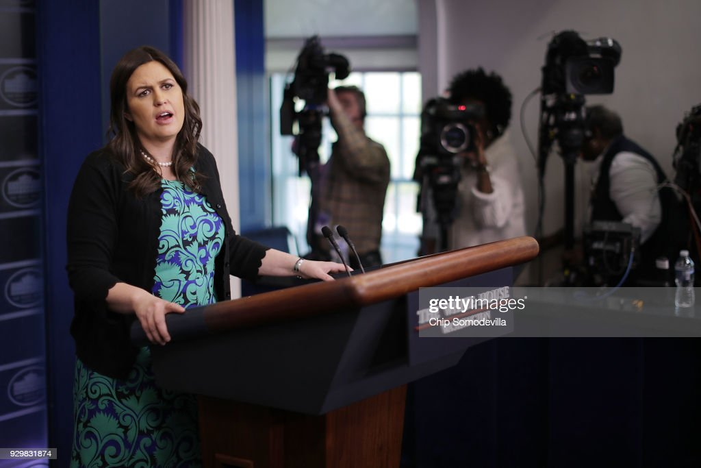 White House Press Secretary Sarah Huckabee Sanders conducts a news conference with journalists in the Brady Press Briefing Room at the White House March 9, 2018 in Washington, DC. Sanders faced questions from reporters about U.S. President Donald Trump accepting an invitation from North Korea's Kim Jong-Un for face-to-face meetings this spring.
