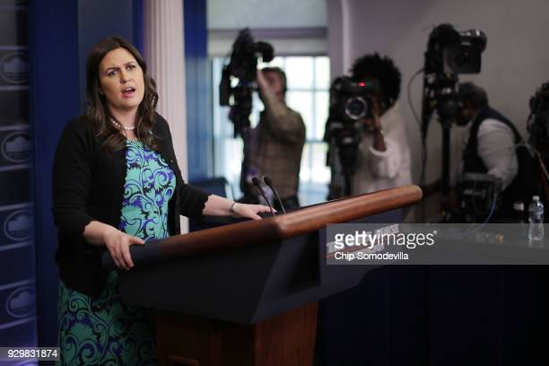 White House Press Secretary Sarah Huckabee Sanders conducts a news conference with journalists in the Brady Press Briefing Room at the White House...