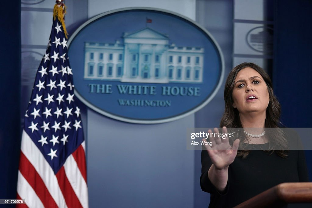White House Press Secretary Sarah Huckabee Sanders conducts a White House daily news briefing at the James Brady Press Briefing Room of the White House June 14, 2018 in Washington, DC.